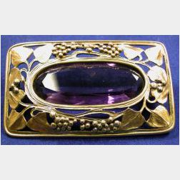Arts & Crafts 14kt Gold and Amethyst Brooch, Josephine Hartwell Shaw