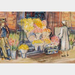 Charles Peter Demetropoulos (American, 1912-1976)      The Flower Stand