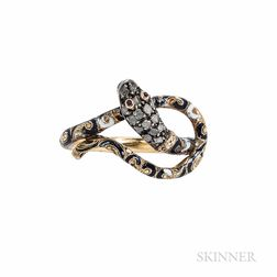 14kt Gold, Enamel, and Diamond Snake Ring