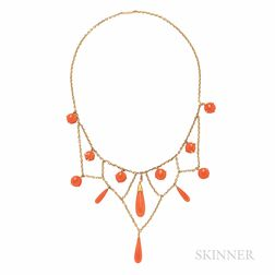 Antique Gold and Coral Necklace