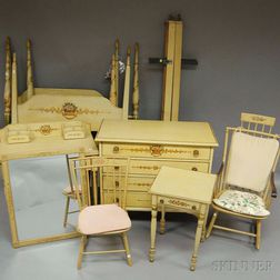 Assembled Eight-piece Polychrome Paint-decorated Bedroom Suite