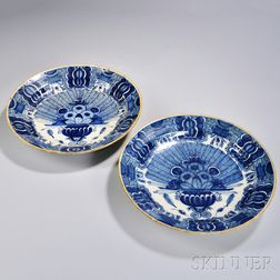 Two Dutch Delftware Peacock Chargers