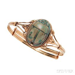 14kt Gold and Faience Scarab Bracelet