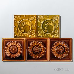 Five Low Art Tile Works Art Pottery Tiles