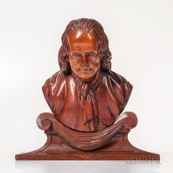 Carved Walnut Architectural Bust of Benjamin Franklin