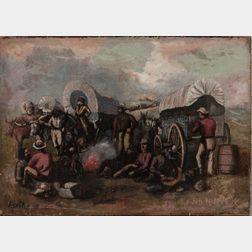 David Gilmour Blythe (Pennsylvania/Ohio, 1815-1865)      Sketch for a Frontier Scene
