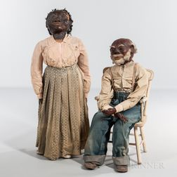 Pair of Papier-mache, Cotton, and Cloth Figures of African Americans