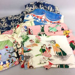 Six Pieces of Barkcloth and Cotton Children's Fabric