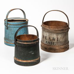 """Gray-painted """"Pearl Ash"""" Pail and Two Other Pails"""