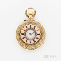 18kt Gold and Enameled Demi-hunter Pendant Watch
