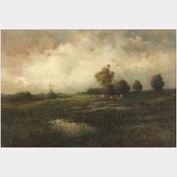 Paul R. Koehler (American, 1875-1909)  Country Landscape with Grazing Cattle