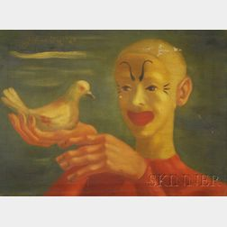 Framed 20th Century American School Oil on Canvas, White Pigeon