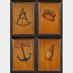 Ralph Eugene Cahoon, Jr. (Cotuit, Massachusetts, 1910-1982)      Lot of Four Works:  Lantern, Sailor's Ditty Box, Anchor