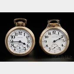 Two Hamilton 16 Size Gold-filled Open Face Watches