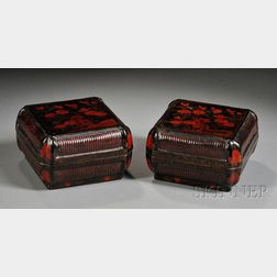 Pair of Lacquered Wood Boxes