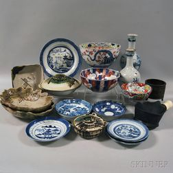 Group of Mostly Asian Ceramics and Two Bronze Items