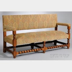 Wallace Nutting Upholstered Turned Maple Sofa Bench