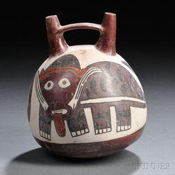 Nasca Stirrup Spout Polychrome Pottery Vessel