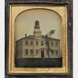 Sixth-plate Tinted Daguerreotype of the Atkinson Academy, Atkinson, New Hampshire