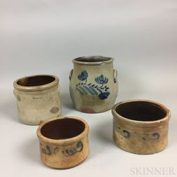 Four Cobalt-decorated Stoneware Items