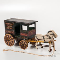Painted Sheffield Farms Co. Toy Wagon