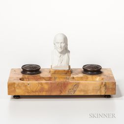 Marble Inkwell with a Parian Bust of Benjamin Franklin