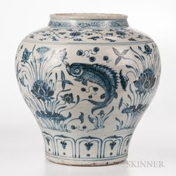 "Large Blue and White ""Guan"" Jar"