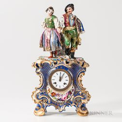 Gilt and Polychrome Decorated Porcelain Brevete Mantel Clock