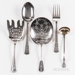 Four Tiffany & Co. Sterling Silver Serving Pieces and a Gorham Sterling Silver Serving Fork