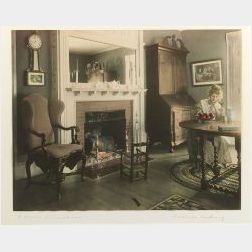 """Framed Wallace Nutting Hand-colored """"A Fruit Luncheon"""" Photographic Print"""