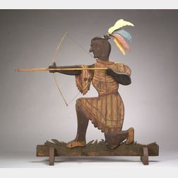 Polychrome Carved Pine and Tin Indian Weather Vane