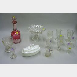 Fifteen Pieces of Assorted Mostly Colorless Pressed and Blown Pattern Glass Tableware and other Items, with an ...