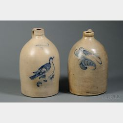 Two Bird-decorated Stoneware Jugs