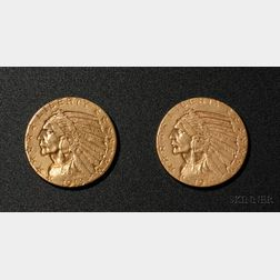 Two United States Indian Head/Half Eagle Five Dollar Gold Coins