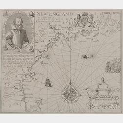 Coastal New England. Levinus Hulsius (1546-1606), After John Smith (1580-1631) New England Die mercklichsten dheile, also genennet Durc