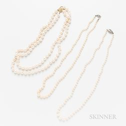 Three 14kt Gold and Cultured Pearl Necklaces