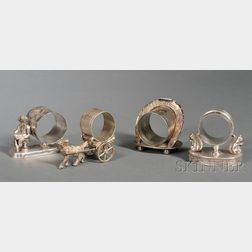 Four American Victorian Silverplate Napkin Rings