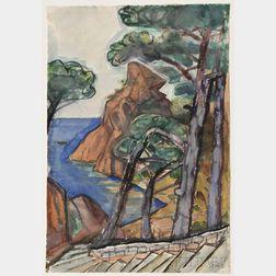 Otto Dix (German, 1891-1969)      Coastal Cliffs, Possibly La Ciotat, France