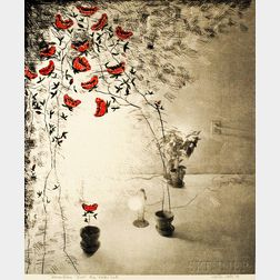 Lynton Wells (American, b. 1940)      Still Life with Red Flowers