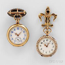Two Jewel-set Ladies' Watches