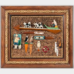 Framed Collection of Carved and Painted Grenfell-style Items