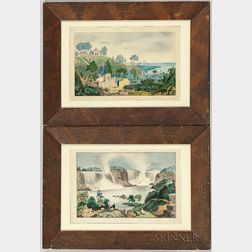 American School, Mid-19th Century      Pair of Watercolor Pictures of the Tomb of Washington and Niagara Falls
