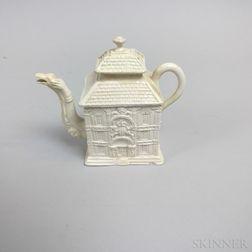 Staffordshire White Salt-glazed Stoneware House-form Teapot