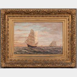 Charles Porter Brown (Massachusetts, Rhode Island, 1855-1920)      The Barque Taria Topan   of Salem