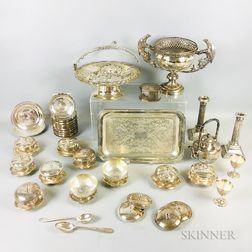 Group of Mostly Chinese Export Silver or Silver-plated Items