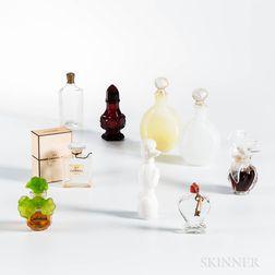 Nine Vintage Glass Perfumes