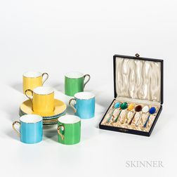 Wedgwood Demitasse Cups and Associated Danish Silver Enamel Spoons.     Estimate $100-150