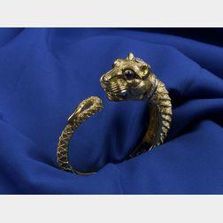 18kt Gold Lion's Head Bangle Bracelet