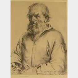 Framed Drypoint Etching of a Bearded Man by Arthur William Heintzelman (American, 1891-1965)