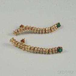 Pair of Flexible 14kt Gold, Diamond, and Emerald Earpendants